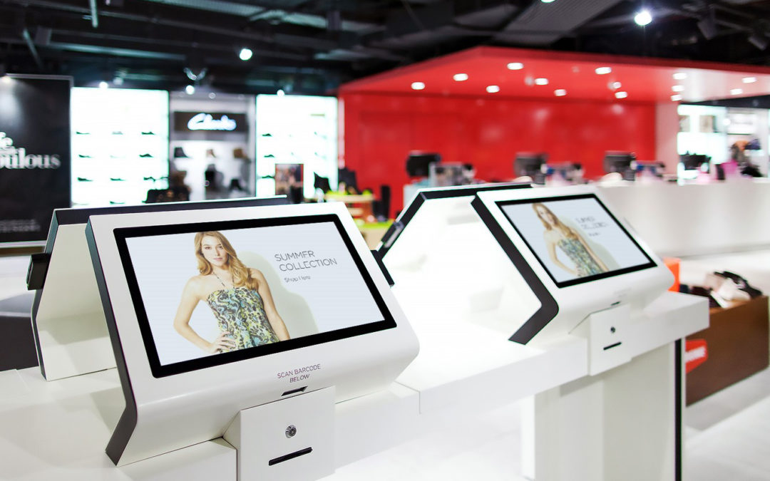 How can electronics stores use digital display solutions to increase basket spend?